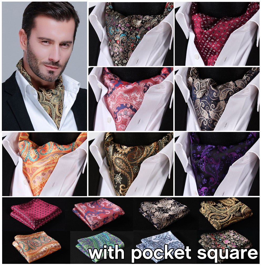 Paisley Floral 100%Silk Ascot Pocket Square Cravat Jacquard Dress Scarves Ties Woven Party Ascot Handkerchief Set EFA