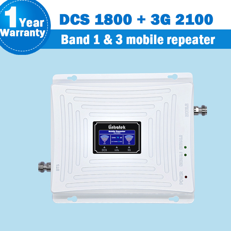 Lintratek 3G 4G WCDMA/DCS/LTE Signal Dual Band Repeater Display Band 1&3 1800/2100MHz Mobile Phone Cellular Signal Booster S65