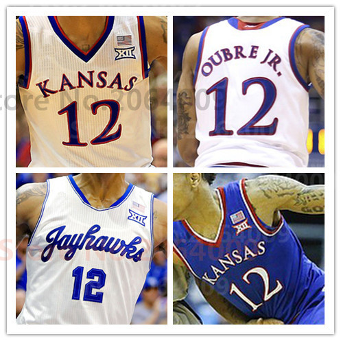 new concept 21510 3de6a 100% Stitched NCAA 2016 KU 's Kansas Jayhawks 12 kelly oubre ...