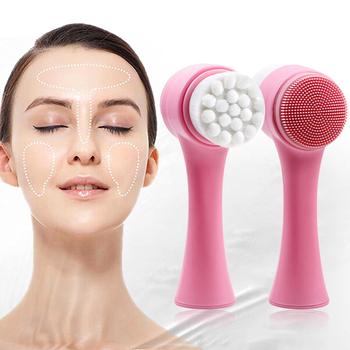 Dwustronnie silikonowa szczotka do mycia twarzy złuszczająca zaskórnika dokładne czyszczenie twarzy miękkie łagodne włókna masaż narzędzia do mycia tanie i dobre opinie Firstsun Demakijażu Unisex Facial Cleanser Brush Brak CHINA Czyszczenia twarzy Maquillaje Maquillage Dropshipping Wholesale
