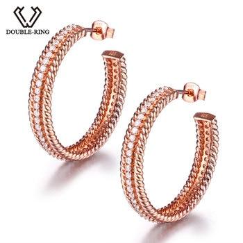 DOUBLE-R Earrings Classic Created white Topaz Hoop Earrings 100% Pure 925 Sterling Silver For Women Fine Jewelry