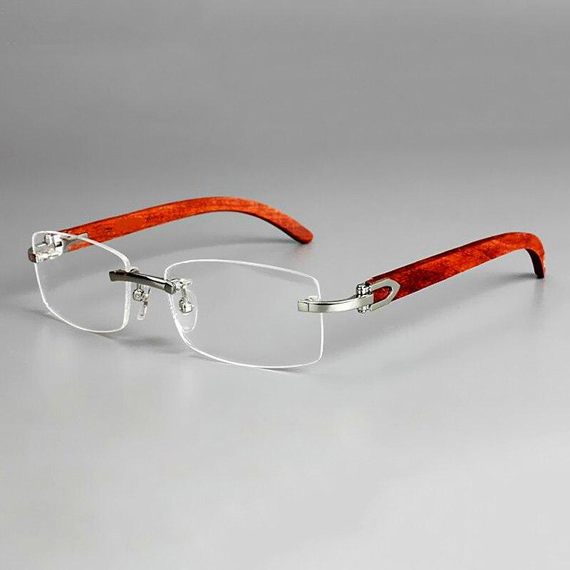 Brands glasses frame Men business rimless glasses frames Wooden legs nearsighted glasses women optical frame glasses 5 colors