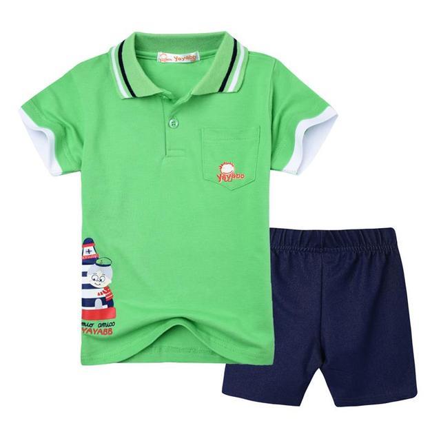 2017 nueva moda para niños ropa de verano ropa de los muchachos de marca boy ropa set polo camisetas + denim pantalones roupas infantis menino