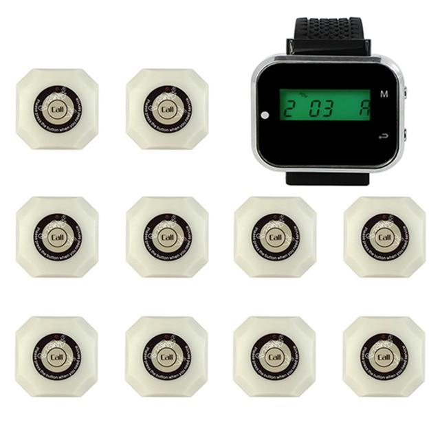 Беспроводной Ресторан Пейджер Система Отель Система Вызова с Наручные Часы Приемника + 10 шт. Белый Кнопку Вызова Пейджера Оборудования F3293B