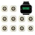 Sistema de Pager Restaurante Do Hotel Sistema de Chamada sem fio com Relógio de Pulso Pager Receptor + 10 pcs Botão de Chamada Branco Equipamentos F3293B