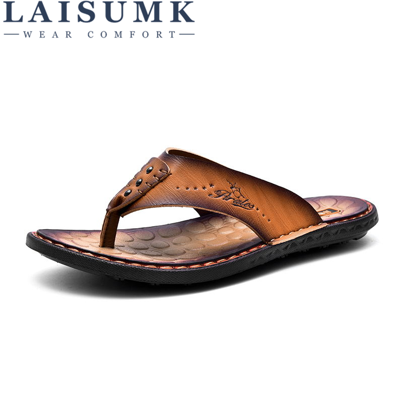 2018 LAISUMK Summer Men Slippers Head Layer Cowhide Beach Shoes Chuck Leather Slippers Men Sandals Flip Flops Causal Flats Shoes