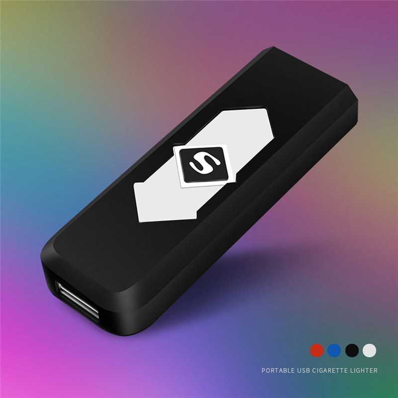 Rechargeable USB Windproof Flameless Electric Electronic Charging Cigarette Lighter Smokeless Super Lighters Man x