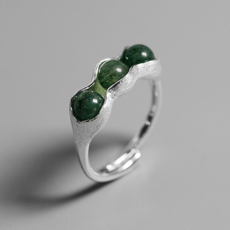 ACECARE Rings 925 Sterling Silver Pea Pod Sterling Silver With Jade Open Ring Beads Movable Simulation Women Jewelry