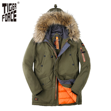 TIGER FORCE 2017 Men Padded Parka Winter Coat Mens Fashion Casual Coat Jacket Thick Parkas Artificial Fur Russian Free Shipping