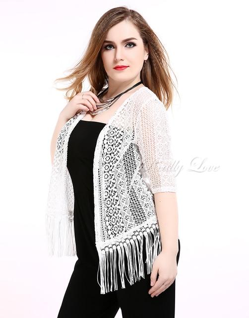 78e8aadf3ba Cute Ann Women s Plus Size Summer Lace Blazer Half Sleeve Tassel Design  White Blazer Cocktail Party Casual Wear 5XL 6XL 7XL