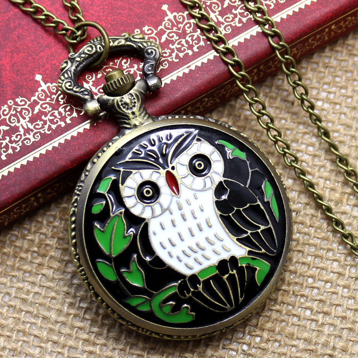 New Arrival 2019 Enamel Nighthawk Pattern Pocket Watches Quartz Fob Watches With Necklace Chain Free Drop Shipping