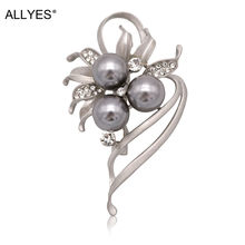 ALLYES Gray Color Pearl Flower Brooches For Women Elegant Party Czech Crystal Clothes Dress Collar Alloy Pin Brooch Jewelry(China)