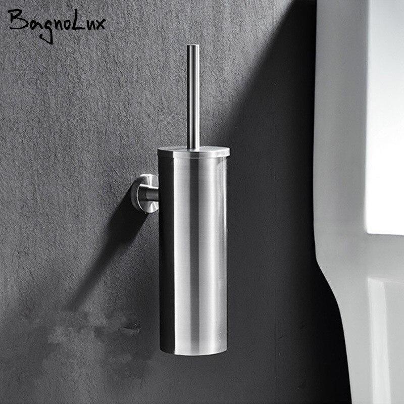 New Toilet Brush Holders Stainless Steel Matt Black Toilet Bowl Brush Clean Ceramic Bathroom Accessories WC Borstel Brushed