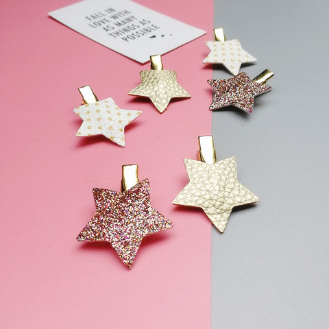 2/6/10pcs/set Synthetic Leather stars butterfly hair clips for girls flower hair Bow hairpin girls children hair accessories Lahore