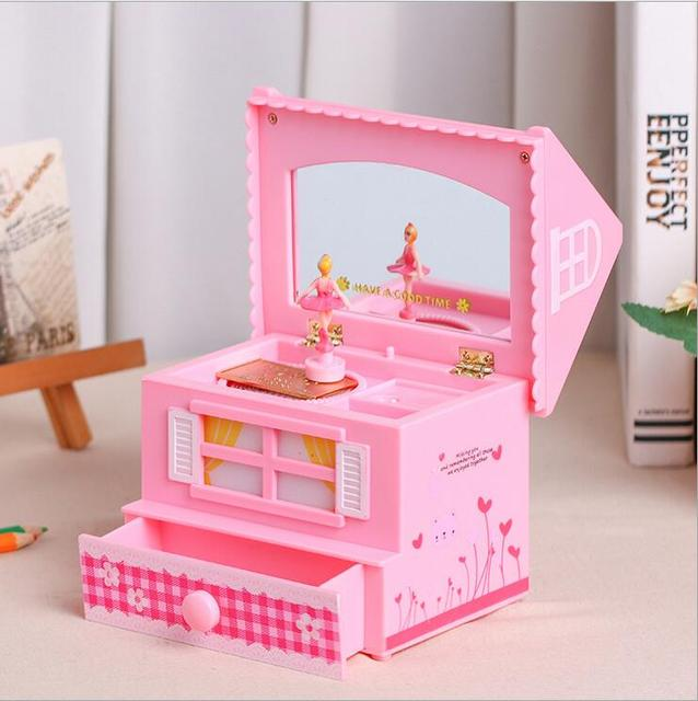Cute house jewelry box music box with mirror rotating dancing