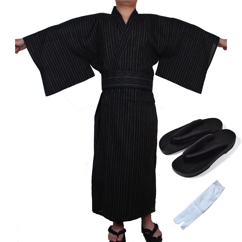 Male Japanese Traditional Costumes Samurai Kimono Man Cotton Thin Loose Style Yukata Jinbei Haori Luxury Retro Cosplay Clothing