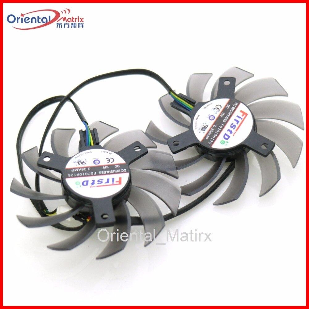 Envío libre 2 unids/lote FD7010H12S DC 12 V 0.35A 75mm para Asus R7 260X HD7950 GTX7750TI GTX650TIB directcu II ventilador de la tarjeta gráfica