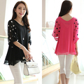 Summer/Autumn/Spring Chiffon Dot Casual Women Maternity Tops Wear Clothes For Pregnant Maternity Blouses & Shirts Clothing,L-4XL