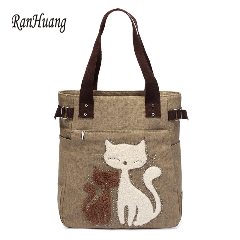 RanHuang 2019 Handbags kanvas wanita Cute Cat Tote Bag Lady Casual Bag Bahu Beg Wanita Fashion Handbags bolsas feminina