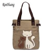 New Arrive 2017 Women S Canvas Handbags Cute Cat Tote Bag Lady Casual Bag Shoulder Bags