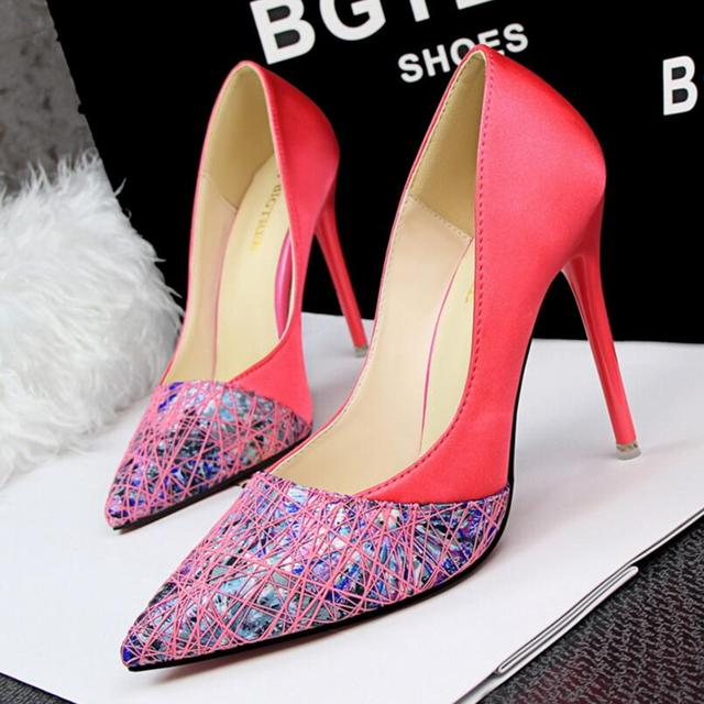 {D&H}Brand Women Shoes High Heels Stripe Women's Pumps  Silk Patchwork Thin Heel Work Shoes Valentine Shoes zapatos mujer