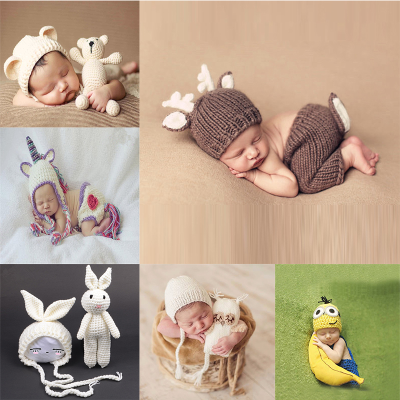baby cap Deer Design Handmade Crochet Deer Costume Set Knitted Hats and Pants Newborn Photography Props Photo Shoot Caps Hats bomhcs funny wigs beard handmade knitting hats wanderers cap helloween party gifts