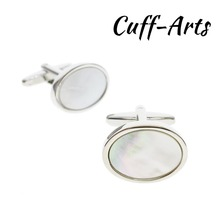 Cufflinks for Mens Oval Mother of Pearl Gifts Men Shirt Cuff links Gemelos Bouton De Manchette by Cuffarts C10217