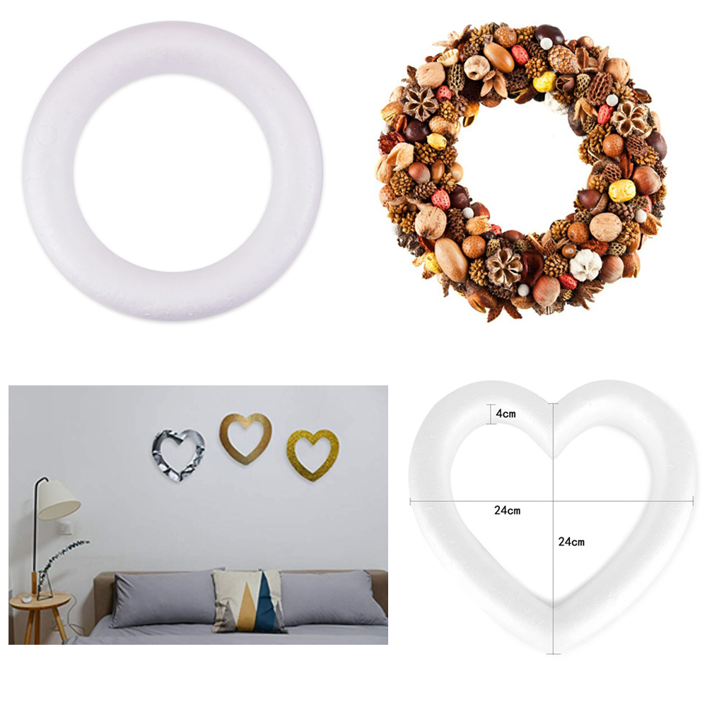 New Heart Shaped Polystyrene Foam Wreath White For DIY Craft Wedding Party Round Love Heart Optional-in Party DIY Decorations from Home & Garden