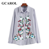 GCAROL New Arrival Floral Embroidery Women Blouse Striped Cotton Blends OL Shirt High Quality Fashion
