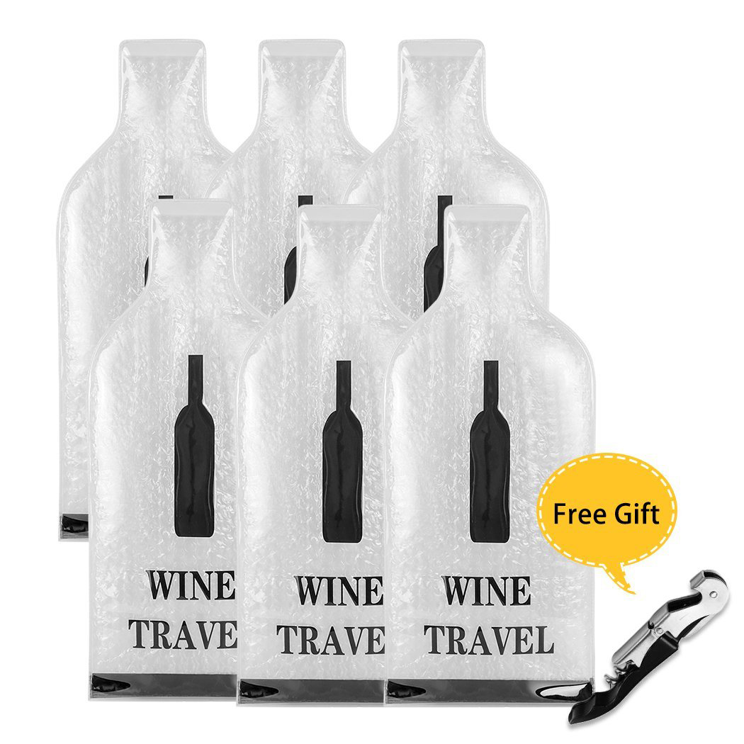 Wine Bottle Protector Sleeve - Reusable And Portable Travel Wine Bags - Safe Transport Leakproof - With The Gift Wine Opener