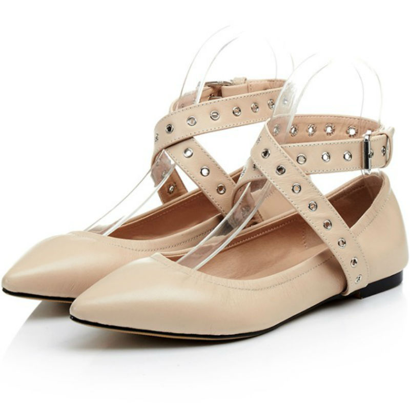 Spring summer Fashion sweet women 2017 genuine leather flat heel ankle-strap single shoes lady woman pointed toe flats loafers spring summer women leather flat shoes 2017 sweet bowtie flats women shoes pointed toe slip on ladies shoes low heel shoes pink