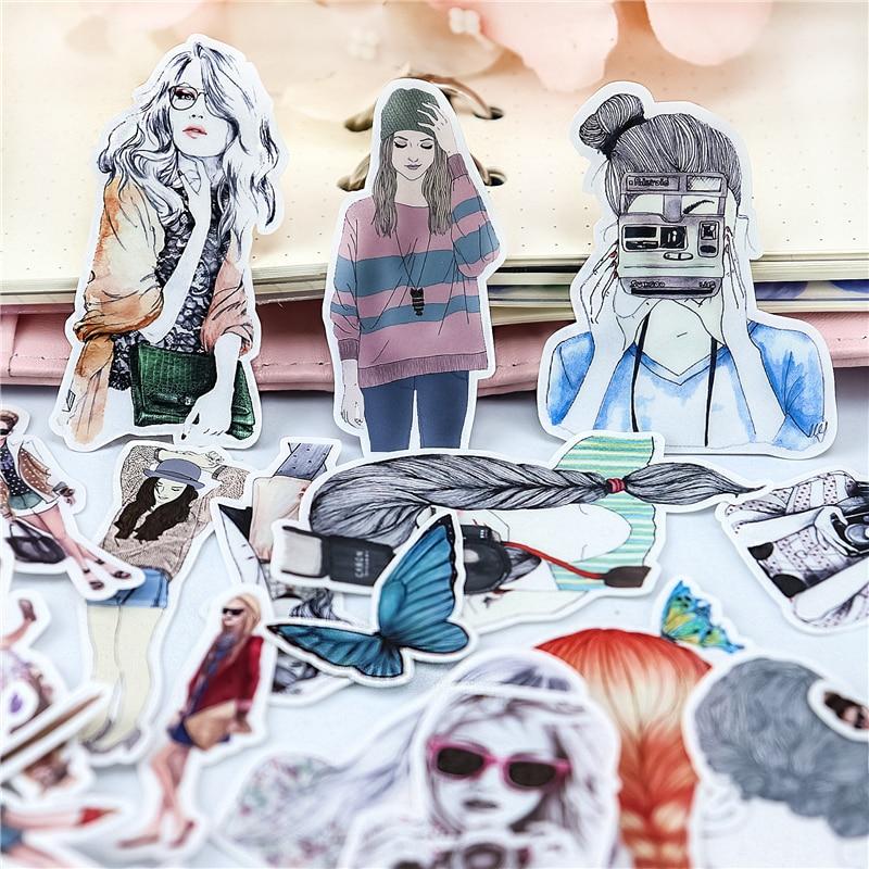 23pcs Colorful LINE Expression Selfie Girls Stickers Diary Photo Album Decoration  DIY Ablum Diary Scrapbooking Label Sticker