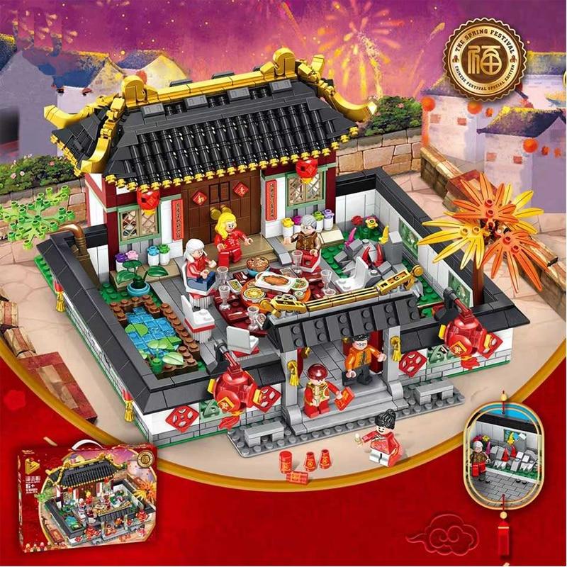 2019 chinois nouvel an dîner Dragon danse Action Figures blocs de construction briques jouets compatibles avec le souci pour les enfants cadeau