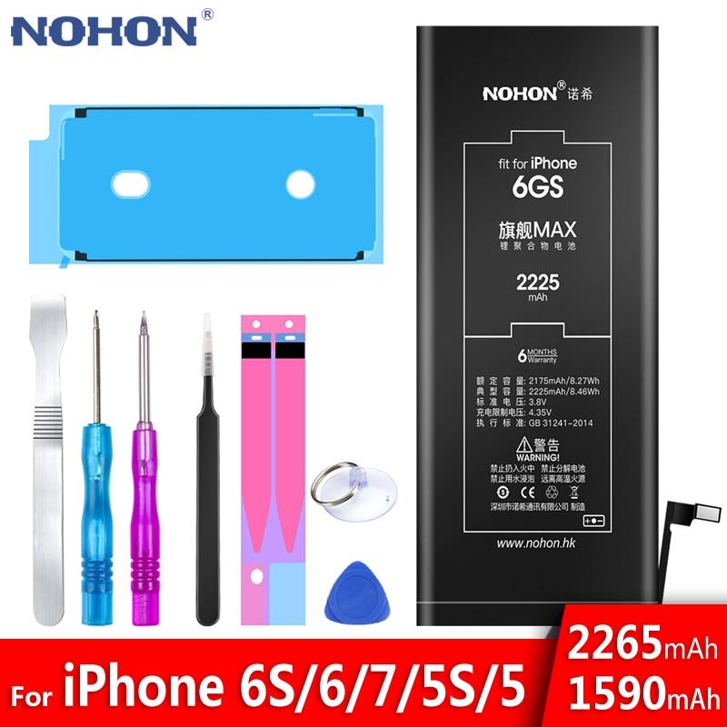 NOHON Lithium Battery For Apple iPhone 6S 6 7 5S 5 Replacement Batteries Internal Phone Bateria 2060mAh 2265mAh + Free Tools