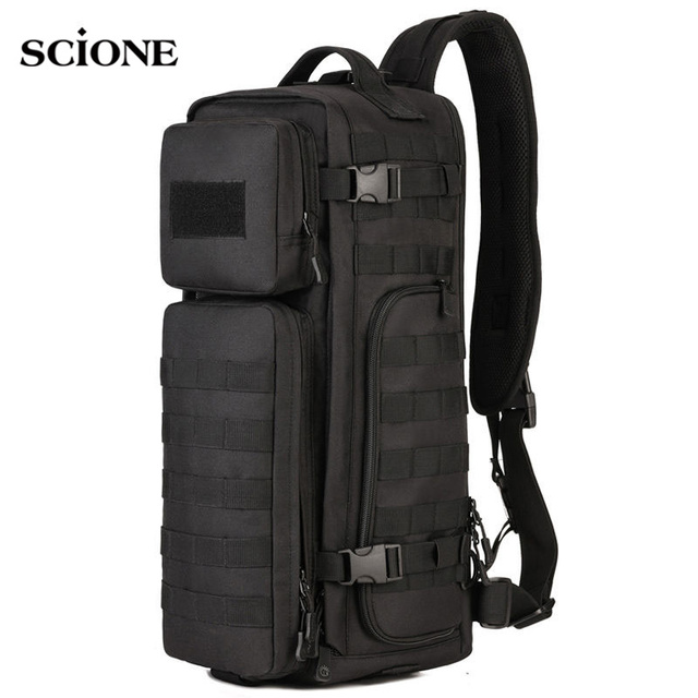 e1a3cb1151 Men Chest Sling Backpack Men s Bags One Single Shoulder Man Large Travel  Military Backpacks Molle Bags Outdoors Rucksack XA495WA