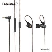 Remax RM-580 Daul Moving-Coil HiFi Draad Oortelefoon Stereo Super Geluid Hoofdtelefoon Met Mic Stereo Muziek Telefoon Headset Voor Cellphone