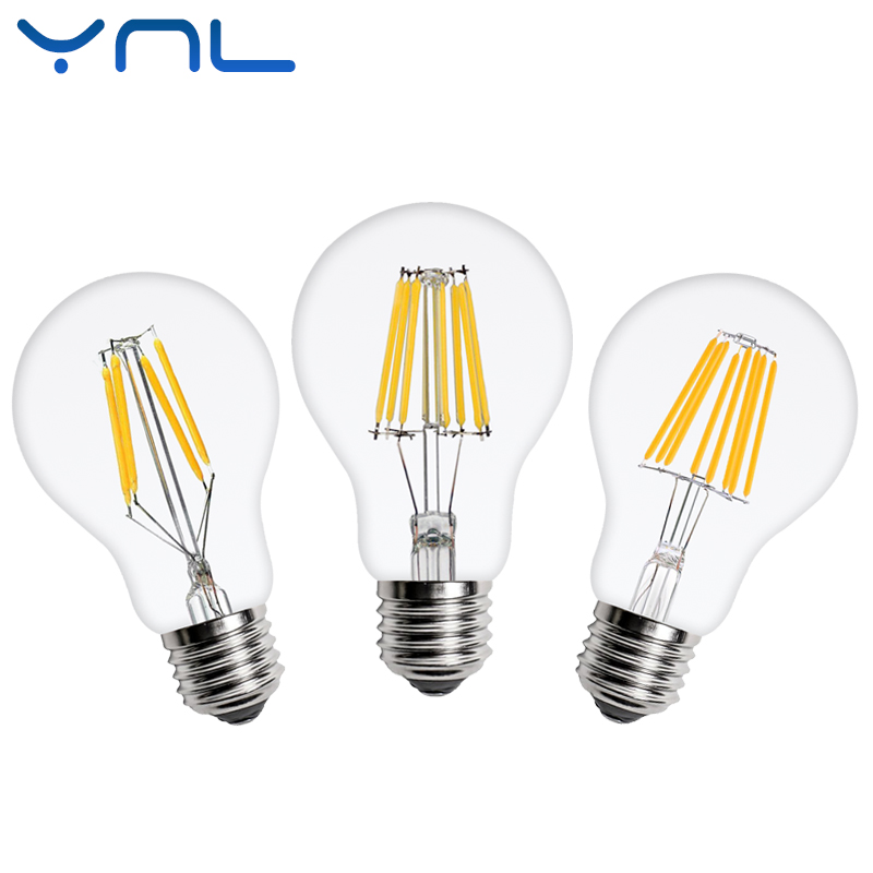 Antique Retro LED Filament Light lamp A60 E27 2W 4W 6W 8W 220V Clear Glass shell vintage led edison bulb for Vintage Chandelier dimmable e27 g50 led vintage filament light lamp 6w 220v 240v clear or frosted glass retro edison bulb cold white warm white