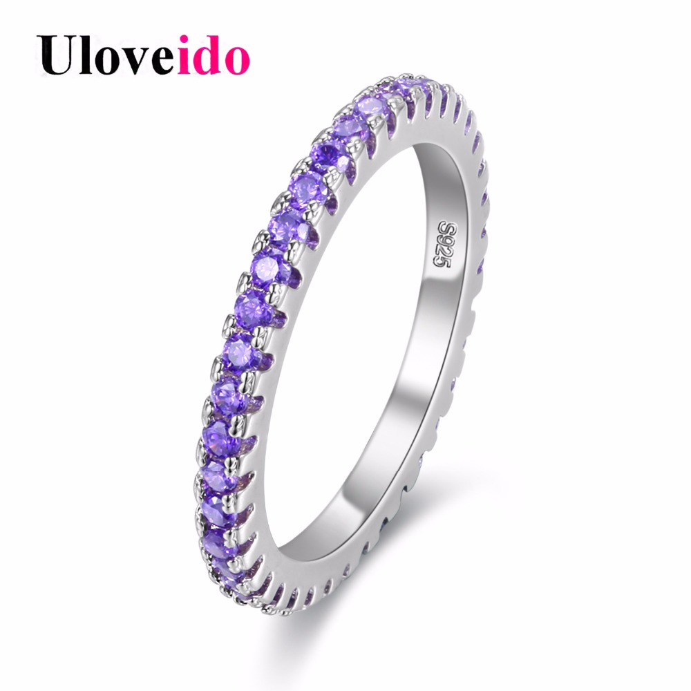 Uloveido Silver Color Engagement Ring for Women Wedding Rings Women's Jewelry Anillos Bague Cristal Bijoux Brincos Anel Y115 все цены