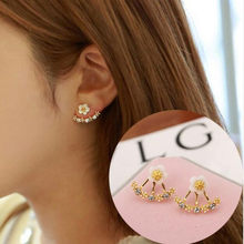 Fashion Jewelry Simple Cherry Blossoms Flower pearl Stud Earrings luxury jewelry Daisy 925 Sliver women earrings(China)