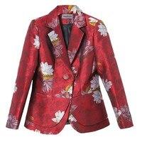 2017 New Autumn Elegant Floral Jacket Blazers Women Plus Size XXXL Jacquard Blazer Korean OL Style