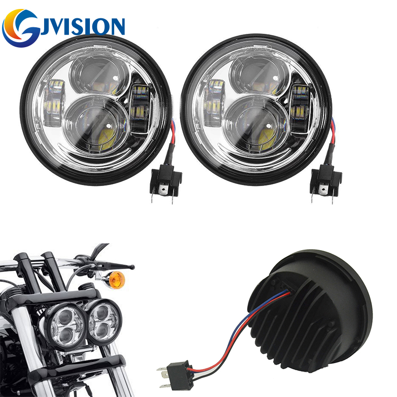Harley Motos 5 INCH Round led headlight 12V LED Headlamp for Harley Dyna Fat Bob FXDF Models Daymaker Lights