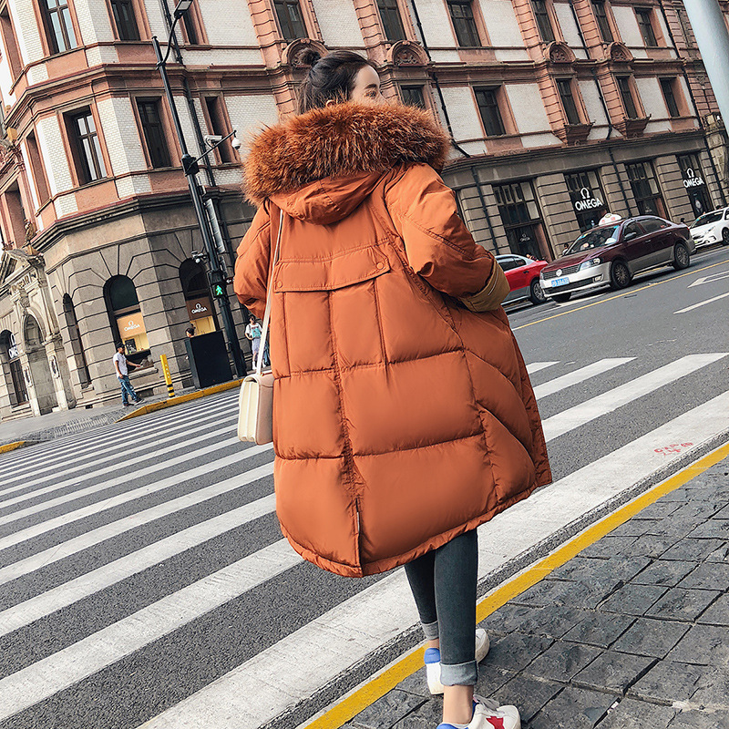 Меховой воротник с капюшоном студенческий Зимний пуховик Куртка длинный толстый теплый женский Casaco Feminino Abrigos Mujer Invierno Wadded Parkas 05