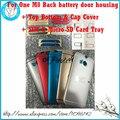 Para htc one m8 nuevo teléfono móvil original cubierta de la puerta de la batería completa de vivienda + top bottom y casquillo + single sim y tarjeta sd micro bandeja