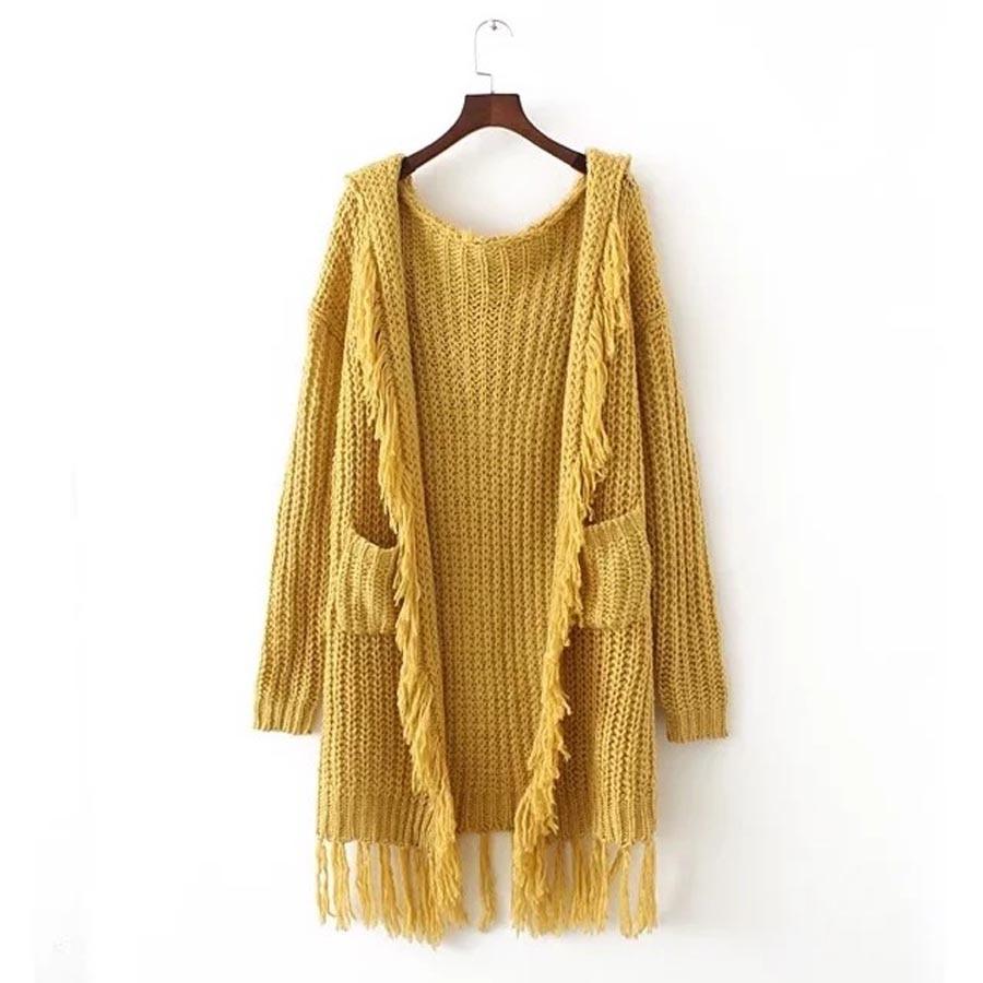 Yellow knitted boho sweater long cardigans 2017 chic winter long ...