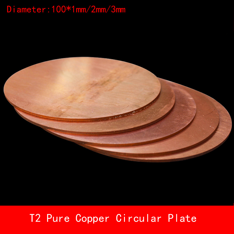 diameter 100*1mm/2mm/3mm circular round T2 Pure copper plate thickness 1mm 2mm 3mm thickness custom made Laser Cutting CNC pure copper magnetic suspension coil with 3mm screw hole