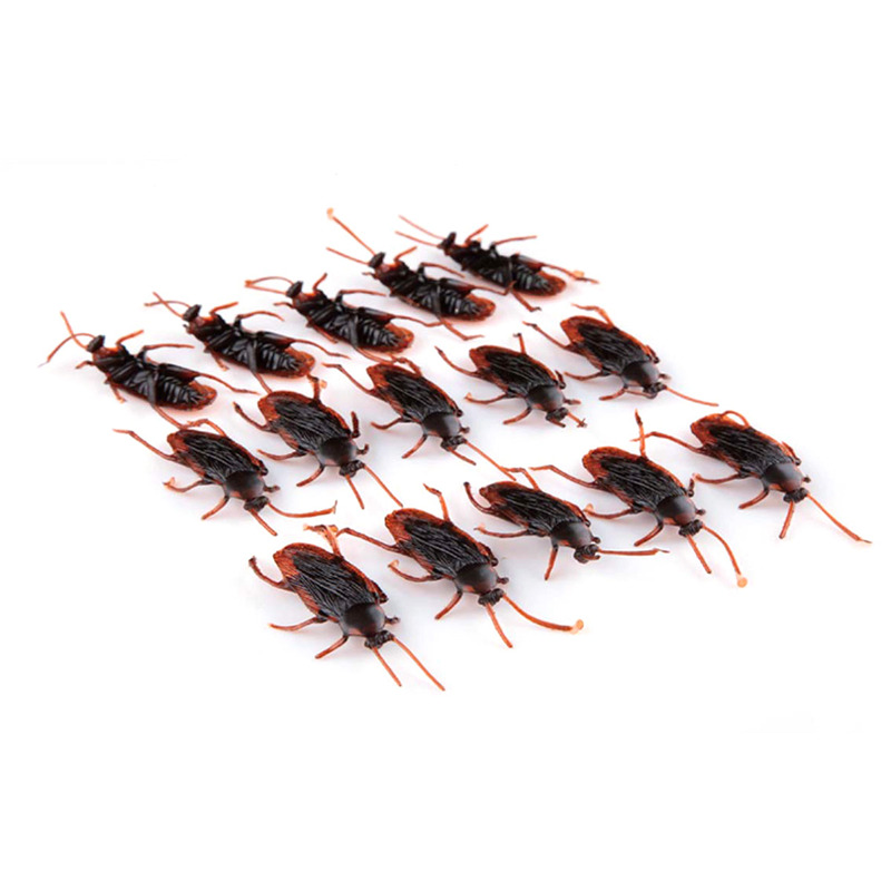 50pcs/lot home decoration craft halloween party fake cockroach roach roaches bug prank toys holiday supplies kids gifts