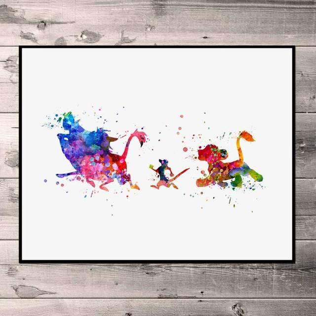 El Rey León acuarela Simba arte impreso Timon y Pumbaa guardería pared arte niños dormitorio arte regalo pintura No marco N78