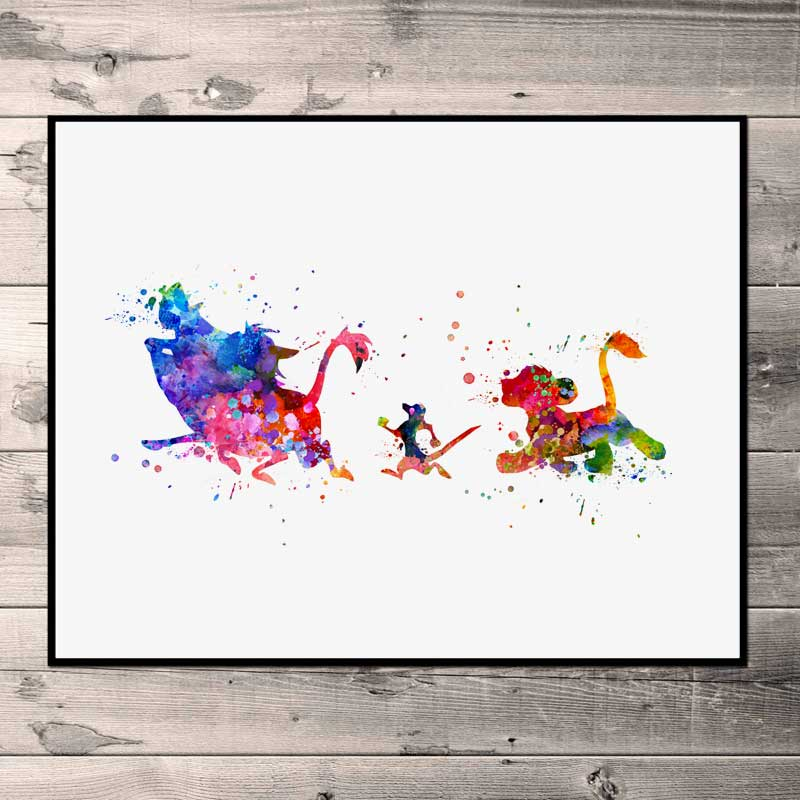 Us 56 The Lion King Watercolor Simba Art Print Timon And Pumbaa Nursery Wall Art Kids Bedroom Artwork Gift Painting Print No Frame N78 In Painting