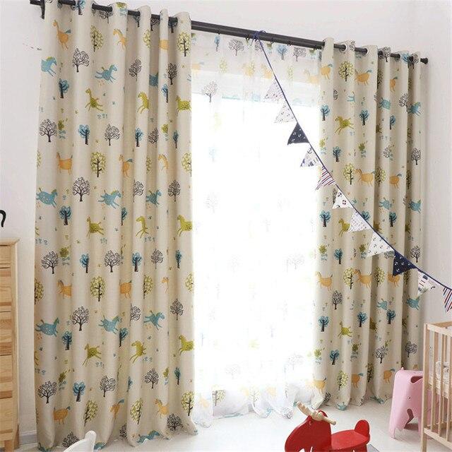 {Byetee} rideau pour salon enfants chambre dessin animé Animal et arbre imprimé fenêtre rideau enfants rideaux