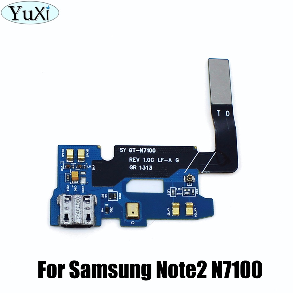 YuXi USB Connector Charging Port Flex Cable For Samsung Galaxy Note 2 N7100 Micro Usb Port Flex Parts Replacement
